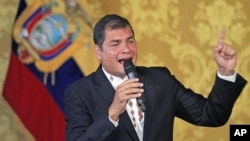 Ecuador's leftist President Rafael Correa addresses the nation at Carondelet Palace in Quito, Ecuador, February 27, 2012.