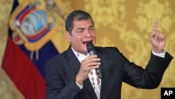 Ecuador's leftist President Rafael Correa addresses the nation at Carondelet Palace in Quito, Ecuador, February 27, 2012.