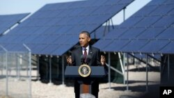 FILE - President Barack Obama is seen speaking about clean energy at Hill Air Force Base, Utah, April 3, 2015.