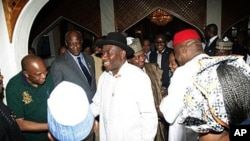 Nigerian President Goodluck Jonathan (C), accompanied by his running mate Arc Namadi Sambo (behind), is congratulated by Cabinet members after being declared winner of the presidential election, in Abuja, on April 18, 2011