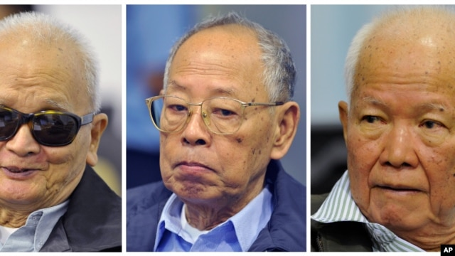"This combination of three photos released by Extraordinary Chambers in the Courts of Cambodia, shows from left to right: Nuon Chea, former Khmer Rouge's chief ideologist and the No. 2 leader, Ieng Sary, former Khmer Rouge foreign minister, and Khieu Samphan,f ormer Khmer Rouge head of state, during a trial for former Khmer Rouge top leaders, in Phnom Penh, Cambodia, Monday, Nov. 21, 2011. The three top Khmer Rouge leaders accused of orchestrating Cambodia's ""killing fields"" went on trial Monday before a U.N.-backed tribunal more than three decades after some of the 20th century's worst atrocities."