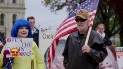 امریکہ میں کاروباری بندش کے خلاف مظاہرے