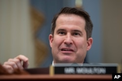 FILE - Rep. Seth Moulton, D-Mass., speaks during a hearing on Capitol Hill, Feb. 12, 2020.