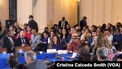En la foto, un representante de los pueblos indígenas de Nicaragua le pide a la OEA más ayuda en protección a la comunidad indígena y su territorio.
