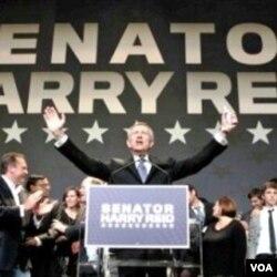 """Senator Harry Reid digambarkan sebagai """"lelaki hidung belang"""" oleh lawan politiknya, Sharon Angle."""