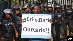 14일 나이지리아 아부자에서 이슬람 과격단체 보코하람에 납치된 여학생들의 무사 귀환을 요구하는 시위가 벌어졌다.