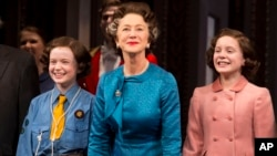 "From left, Sadie Sink, Helen Mirren and Elizabeth Teeter appear on stage at the Broadway opening night curtain call of ""The Audience"" at The Gerald Schoenfeld Theatre, March 8, 2015, in New York."