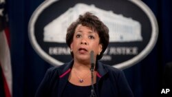 FILE - Attorney General Loretta Lynch speaks at a news conference.