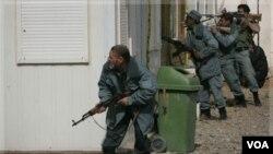 Polizye Afgan k ap chèche militan taliban (AP Photo/Hoshang Hashimi)