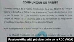 Communiqué de la majorité présidentielle de la RDC, 3 décembre 2017