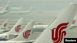 中國北京首都機場停機坪。(資料照片)