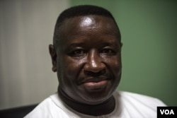 Sierra Leone People's Party presidential candidate Julius Maada Bio is pictured after speaking to reporters in his party's headquarters in Freetown's Goderich neighborhood, March 7, 2018. (J. Patinkin/VOA)