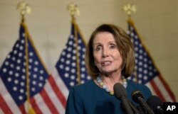 House Minority Leader Nancy Pelosi of Calif., speaks to reporters following the House Democratic Caucus elections for House leadership positions, Capitol Hill, Washington, Nov. 30, 2016. Rep. Tim Ryan, D-Ohio, challenged Pelosi, but lost.