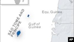 ផែនទីបង្ហាញពីប្រទេសសៅតូម៉េ និងប្រាំងស៊ីប (Sao Tome and Principe)។