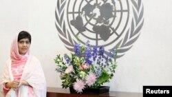 اقوام متحدہ میں آمد کے موقع پر ملالہ یوسفزئی کی تصویر۔ فائل