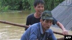 Hai người đàn ông nỗ lực cứu con heo đang chìm dưới dòng nước lũ ở tỉnh Hà Tĩnh, Việt Nam, ngày 17/10/2010