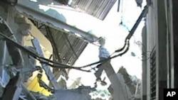 A damaged building in Port-au-Prince
