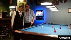 Sebastián y su papá, Edgard Cornejo participarán en la Liga de Campeones de Billar que se jugará en Las Vegas.