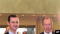 다마스쿠스에서 회담을 가진 세르게이 라브로프 러시아 외무장관(오른쪽)과 바샤르 알-아사드 시리아 대통령