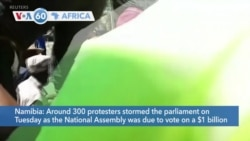 VOA60 Africa- 300 Namibian protesters storm parliament to demand more reparations from Germany
