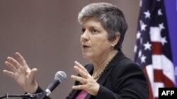 Bộ trưởng An ninh Quốc Nội Hoa Kỳ Janet Napolitano phát biểu tại trường đại học American ở Washington, 5/10/2011