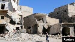 Зруйноване сирійське село Азаз неподалік Алеппо