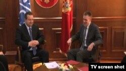 Crnogorski i srpski šefovi diplomatije, Igor Lukšić i Ivica Dačić u Podgorici, 17. februar 2015.