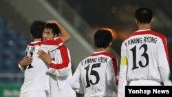 지난 2009년 홍콩 동아시아경기대회 축구 예전전에서 북한 축구 대표팀. (자료사진)