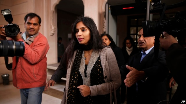 FILE - Devyani Khobragade, who served as India's deputy consul general in New York, leaves Maharastra state house in New Delhi, Jan. 11, 2014.