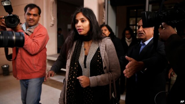 Devyani Khobragade, who served as India's deputy consul general in New York, leaves Maharastra state house in New Delhi, India, Jan. 11, 2014.