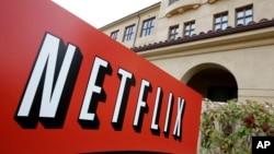 Papan penunjuk kantor pusat Netflix di Los Gatos, California.