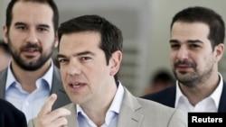 Perdana Menteri Yunani Alexis Tsipras di Athena (2/6). (Reuters/Alkis Konstantinidis)