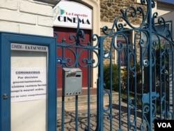French cinemas across the country are shut because of coronavirus. (Lisa Bryant/VOA)