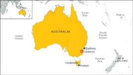 Bản đồ bang Tasmania ở Australia.