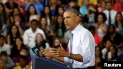Presiden AS Barack Obama berbicara mengenai ekonomi AS pada kunjungan di kota Elkhart, Indiana, Rabu (1/6).