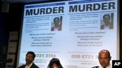 ایک فائل فوٹو میں عمران فاروق کی بیوہ شمائلہ عمران اور لندن پولیس کے نیل باسو عمران فاروق کے قتل کے بارے پریس کانفرنس سے خطاب کررہے ہیں۔