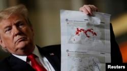 نقشۀ قلمرو داعش در سال های ٢٠١٧ و ٢٠١٩