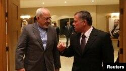 دیدار ملک عبدالله پادشاه اردن با جواد ظریف وزیر امورخارجه ایران در امان - ژانویه ۲۰۱۴