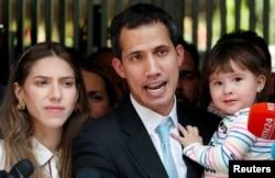 委內瑞拉反對派領袖和自稱臨時總統的瓜伊多與他的妻子法比亞娜•羅薩萊斯和女兒