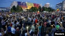 Người Romania biểu tình tại thủ đô Bucharest, Romania, ngày 11 tháng 8, 2018.