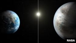 Gambar ilustrasi artistik yang membandingkan planet Bumi (kiri) dengan planet baru yang disebut Kepler-452b, yang lebih besar sekitar 60 persen dari bumi (Image credit: NASA/Ames/JPL-Caltech/T. Pyle)