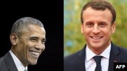L'ancien président américain Barack Obama et le président français Emmanuel Macron.