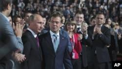 Putin i Medvjedev na Kongresu Ujedinjene Rusije u subotu 24. rujna 2011.