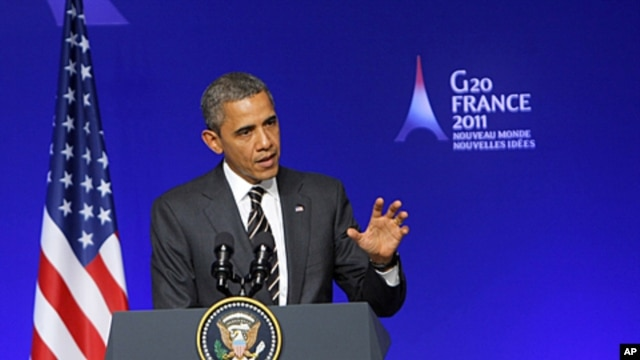 US President Barack Obama speaks during a media conference at a G20 summit in Cannes, France. Leaders from within troubled Europe and far beyond are working Friday on ways the International Monetary Fund could do more to calm Europe's debt crisis, Novembe