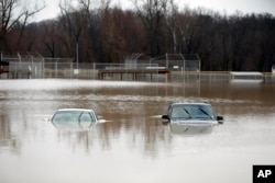 Two cars are submerged in floodwater in a park in Kimmswick, Mo., Dec. 28, 2015.