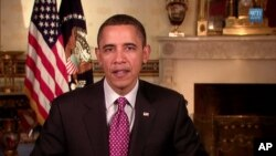 براک ئۆباما سهرۆکی وڵاته یهکگرتووکانی ئهمهریکا وتاری رادیۆیی ههفتانهی خۆی پـێشـکهش دهکات، شهممه 12 ی دووی 2011