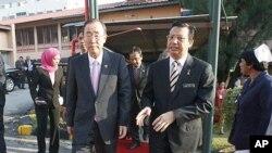 21일 말레이시아를 방문한 반기문 유엔 사무총장 (왼쪽).