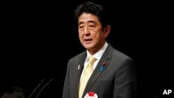 日本首相安倍晋三于2013年2月7日在东京举行要求北方四岛回归的集会上发表讲话