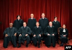 FILE - The Justices of the US Supreme Court sit for their official photograph on October 8, 2010 at the Supreme Court in Washington, DC, October 8, 2010.