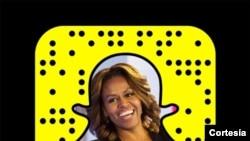 Michelle Obama akiwa katika picha ya snapchat